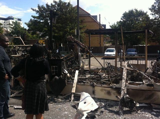 Burnt out London Bus, Croydon, London