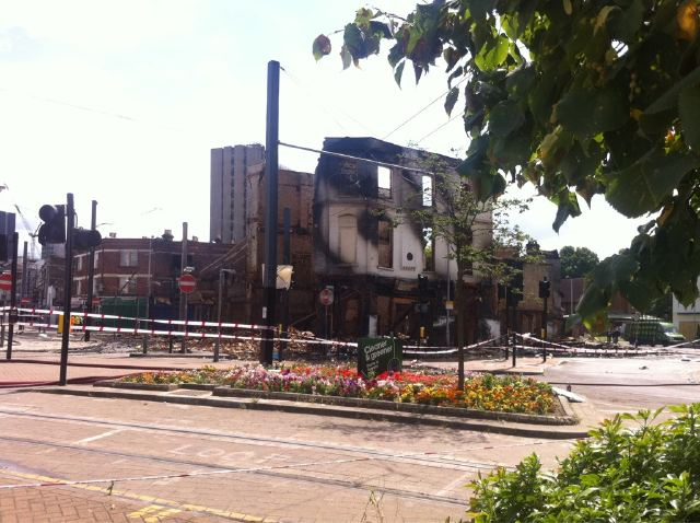 Burnt out building in Croydon