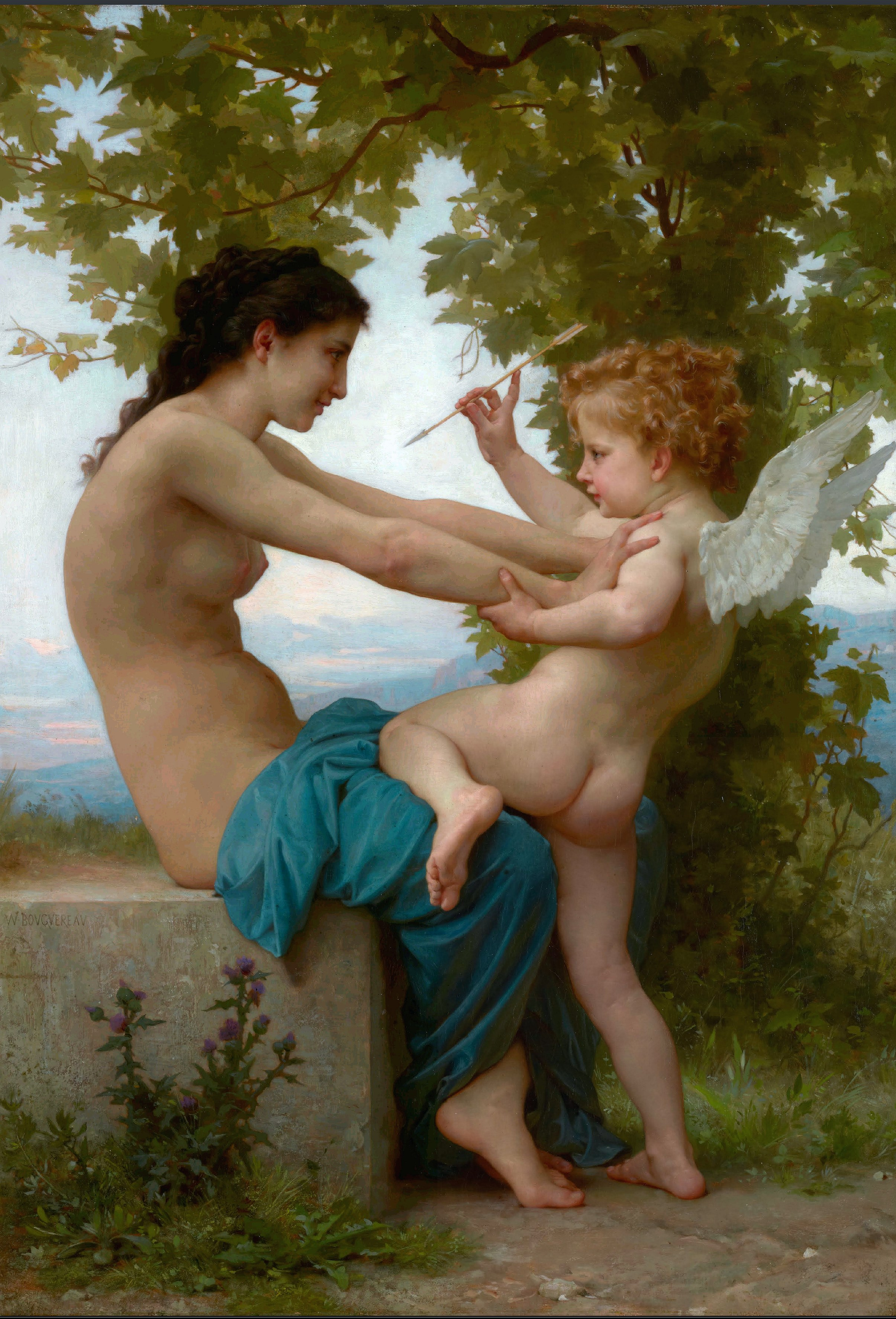 Adolphe William Bouguereau - A Young Girl Defending Herself Against Eros