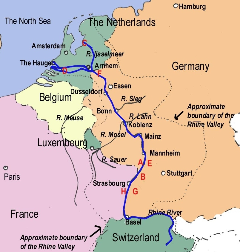 Rhine River and Valley Map