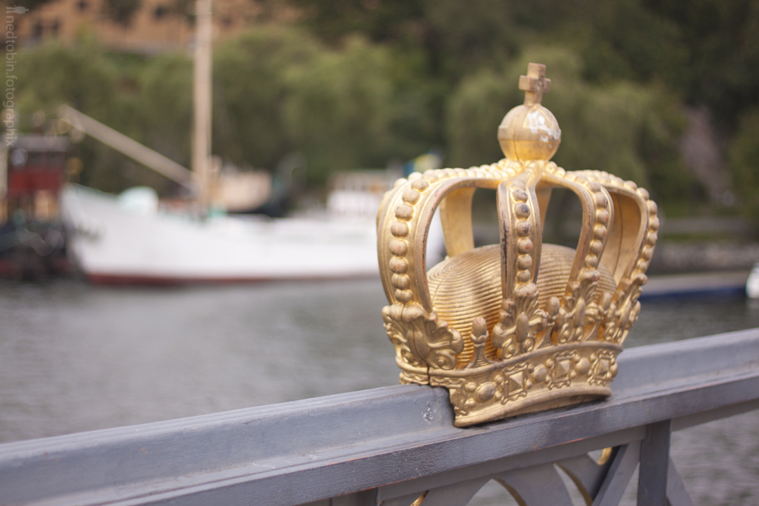 Gilded Crown on Skeppsholmsbron, Stockholm, Sweden