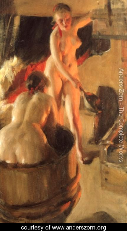Badande kullor i bastun (Women bathing in the sauna) by Anders Zorn